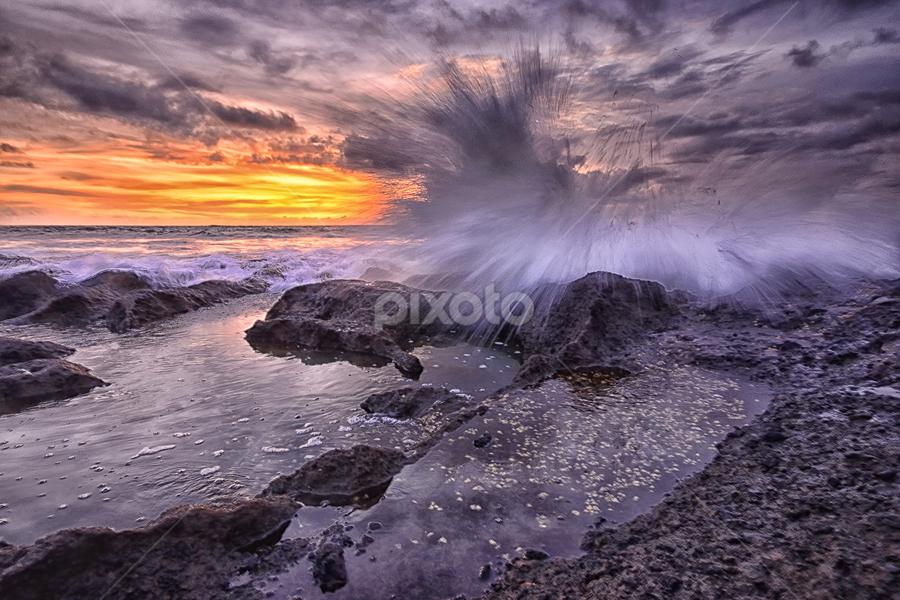 Anger by Hendri Suhandi - Landscapes Waterscapes ( bali, sky, nature, sunset, cloud, rock, sunrise, beach, landscape )