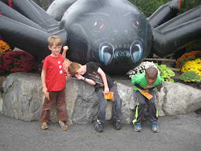 Photo: Canobie Lake was Halloween'd up. In case you can't tell, Grey is dead, Julian is dying, and Lincoln is half-heartedly rescuing them.