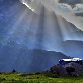 Triund, Dharamshala, India by Akash Deep - Landscapes Travel ( cloudy morning, himalays, mountains, himachal pradesh, sunrays, india, dauladhar ranges, morning at mountains, rays, triyund )