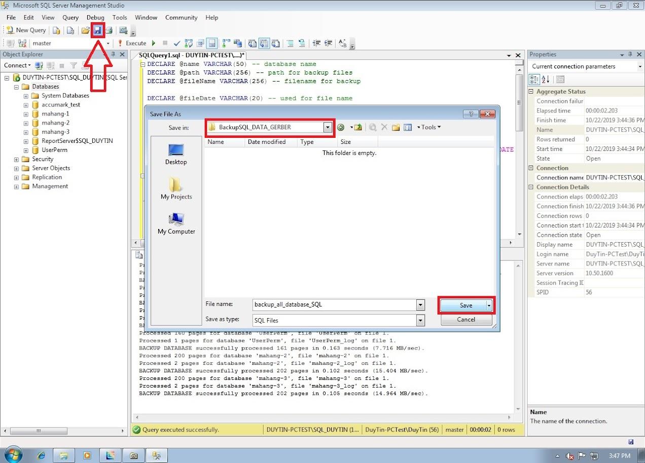 Hướng Dẫn Backup Và Restore Databases Gerber Accumark Trong SQL Server 16
