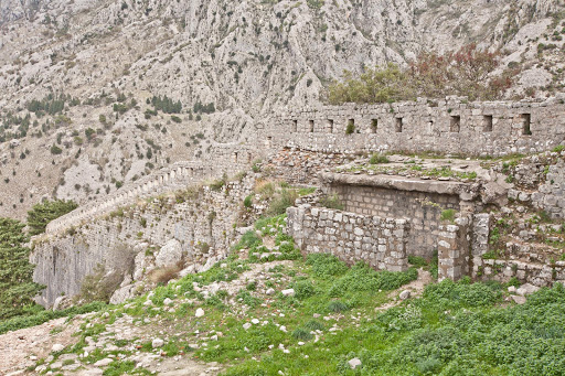 Kotor-ruins-5.jpg - Ruins, part of the  Castle of San Giovanni (or the Castle of St. John) at the summit of the Ladder of Kotor.