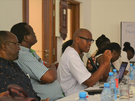 Advocate John Chigiti, the lead consultant of the taskforce on policy, legal, institution and administrative reforms regarding intersex persons in Kenya during a validation forum in Mombasa