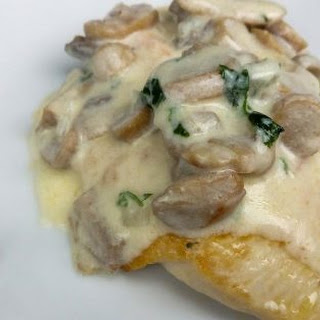Pan-Fried Chicken Breast with Creamy Mushroom Sauce.