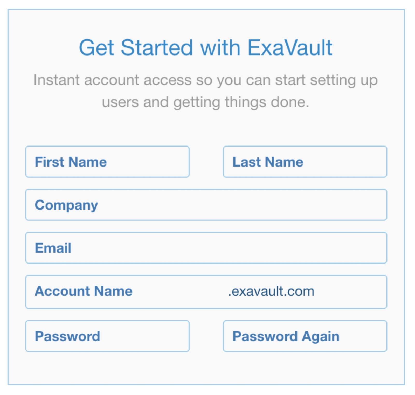 Sign up form to get started with your ExaVault FTP site.