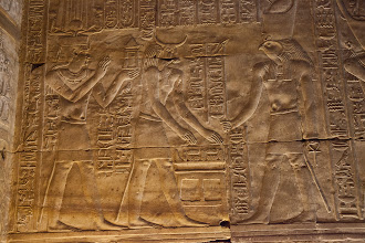 Photo: Horus temple, Edfu - inner hypostyle hall - Apis?