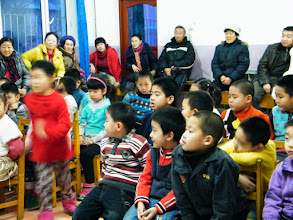 Photo: baby son, warrenzh, 朱楚甲, in his class' new year party in QRRS 1st kindergarten.