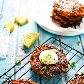 Green Onion and Sweet Potato Fritters.