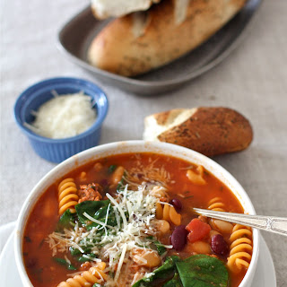 Sausage, Bean & Pasta Soup with Spinach.