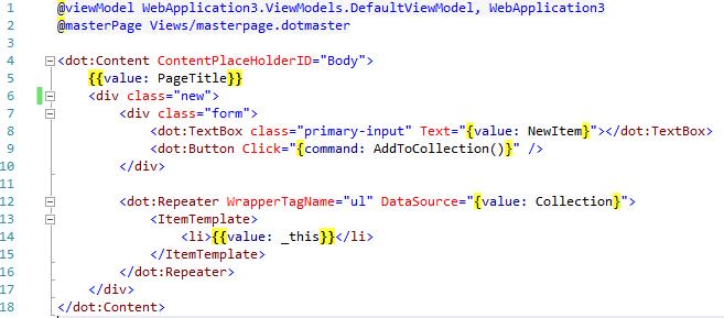 DotVVM markup ukážka kódu