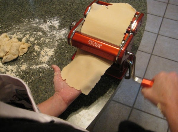 With a pasta machine or by hand roll dough out to desired thinness.( I...