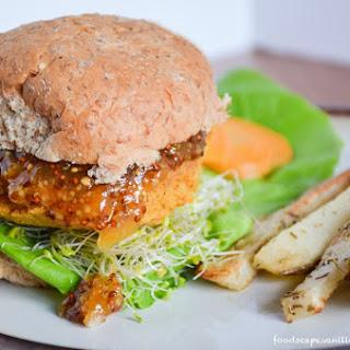 Sweet Potato Chickpea Burger with Apricot Mustard and Rosemary Fries [Vegan, Gluten-Free] Recipe