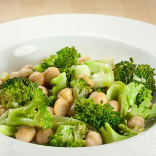 Sauteed Chickpeas with Broccoli Parmesan