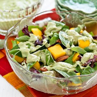 Mango Pecan Salad with Creamy Basil Avocado Dressing