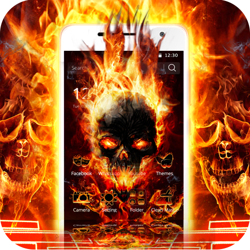 Cool Flame Skulls Theme Fire On Your Phone file APK for Gaming PC/PS3/PS4 Smart TV