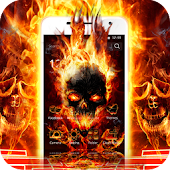Cool Flame Skulls Theme Fire On Your Phone