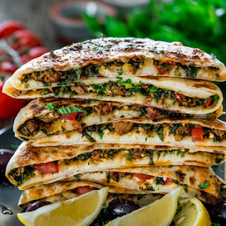 Turkish Gozleme with Minced Lamb.