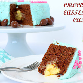 Speckled Chocolate Easter Egg Cake with Custard filling.