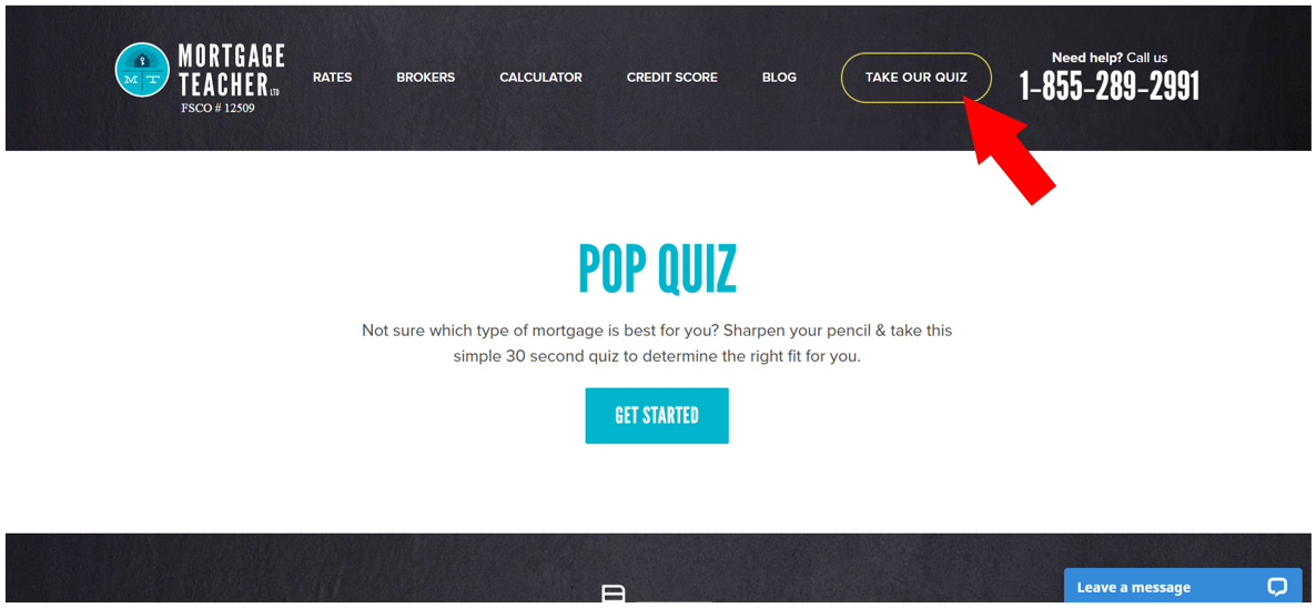 Mortgage Teacher quiz with button to get started