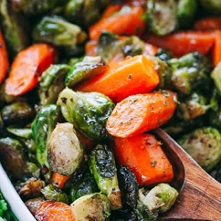 Garlic Brown Butter Roasted Brussels Sprouts and Carrots.