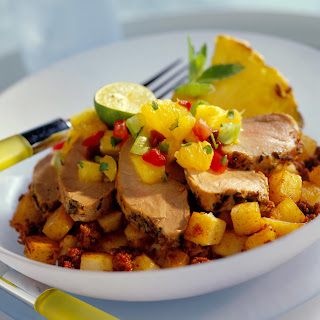 Pork Tenderloin Cancun with Chorizo Potatoes.