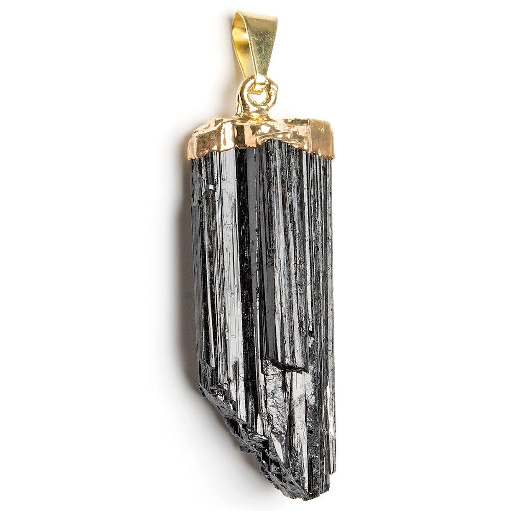 Turmalin svart rå guldpläterad
