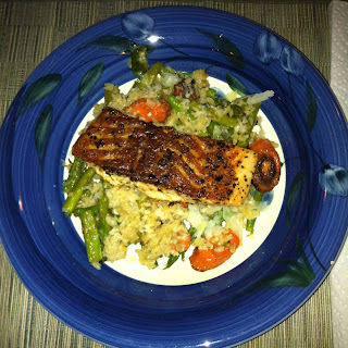 Salmon and Roasted Veggie Risotto.