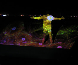 Photo: Dreams in High Fidelity by Scott Draves projected at Camp Disorient at Burning Man 2007.