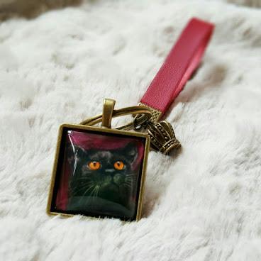 """玻璃吊墜匙扣 - 貓吊墜 - 繪畫首飾 - 美術首飾""""貓貓水彩"""" - 系列黑貓"""