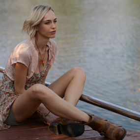 Springtime at the lake by Frank Photography - People Fashion ( modeling, beautiful, mood, lake, hair, light, springtime, spring, boots, shooting,  )