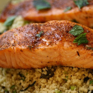 Blackened Salmon with Crunchy Coconut Couscous.