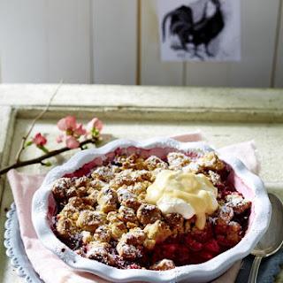 Raspberry Rhubarb Crumble with Eggnog Cream