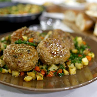 """Pork """"Country"""" Meatballs with Roasted Potato Hash"""