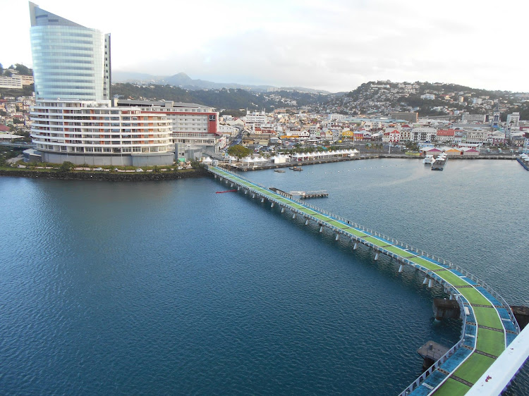The new port terminal in Pointe Simon, Martinique, as seen from Crystal Serenity.