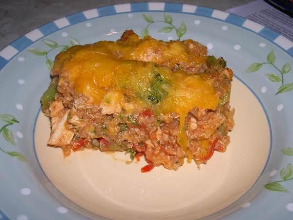 Chicken Cheddar Quinoa Casserole Bake