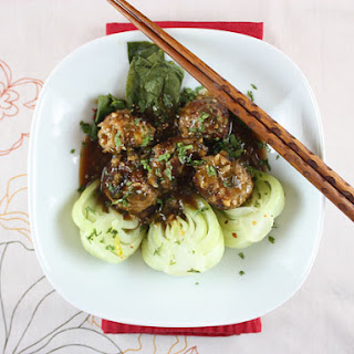 Pork-Jasmine Rice Meatballs with Baby Bok Choy