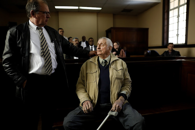 Joao Rodrigues, the apartheid policeman implicated in the murder of slain activist Ahmed Timol, is seen in the dock before court proceedings on the 30th of July 2018. Picture: ALON SKUY