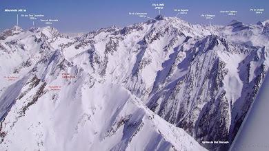 Photo: Vision aérienne annotée sur l'ouest du massif du Néouvielle et du pic Long (au niveau de Pragnères).