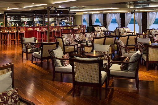 The tasteful Saigon Lounge on deck 2 forward of AmaDara.