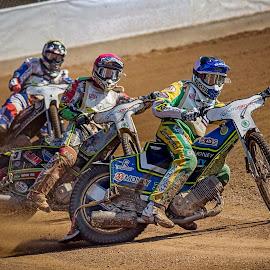 Speedway by Jiri Cetkovsky - Sports & Fitness Motorsports ( speedway, helmet, pardubice, race, golden )