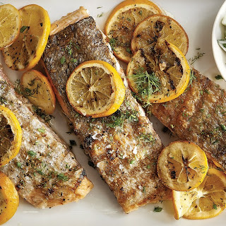 Grilled Salmon with Meyer Lemons and Creamy Cucumber Salad Recipe