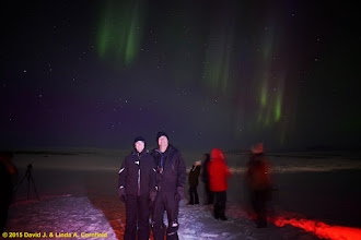 Photo: Noelle and Alex with the aurora boralis near Reykjavik, Iceland