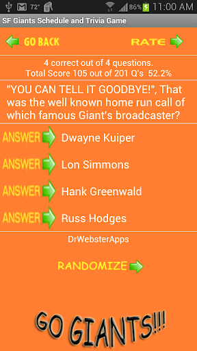 Schedule and Trivia Game for SF Giants fans apktram screenshots 6