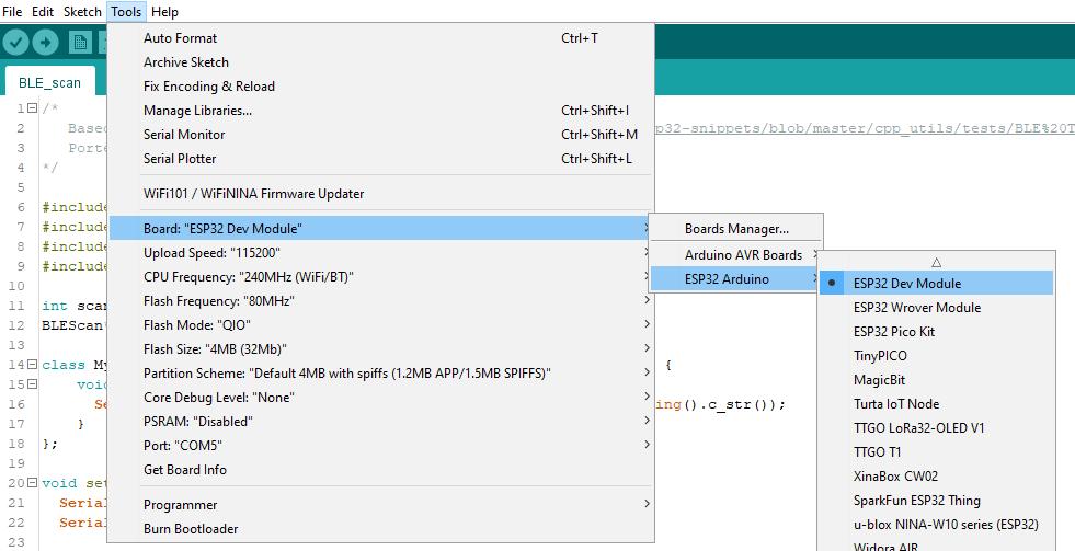"""Truy cập vào Board """"ESP32 Dev Module"""""""