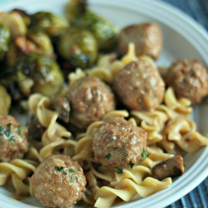 Slow-Cooker Turkey Stroganoff Meatballs {All items from Aldi!}