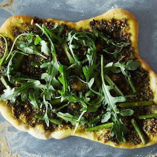 Asparagus and Arugula Pizza with Vegan Pesto.