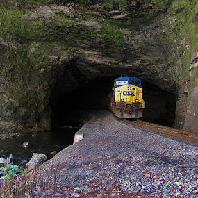 Train Entering Natural Tunnel by Bryant Mountjoy - Transportation Trains ( mountain, train, natural, river, tunnel )