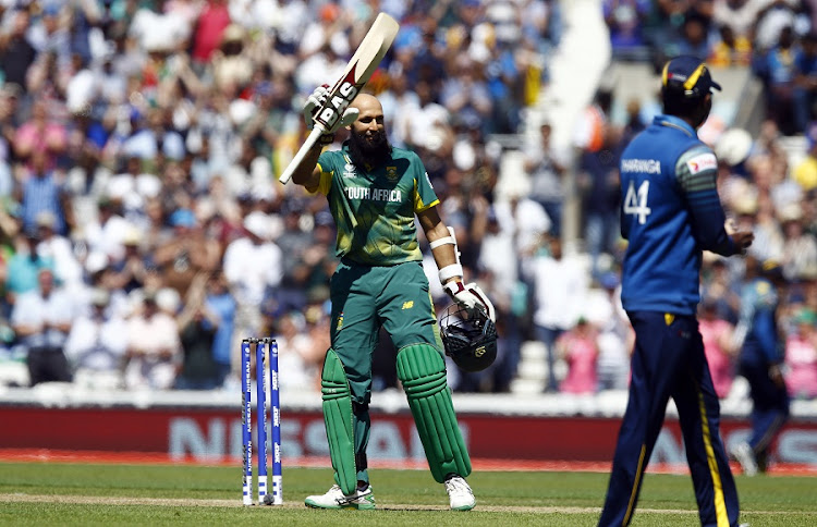 South Africa's Hashim Amla celebrates reaching his century in the Sri Lanka vs South Africa match at the 2017 ICC Champions Trophy at the Oval on Saturday. Picture: ACTION IMAGES via REUTERS/PETER CZIBORRA