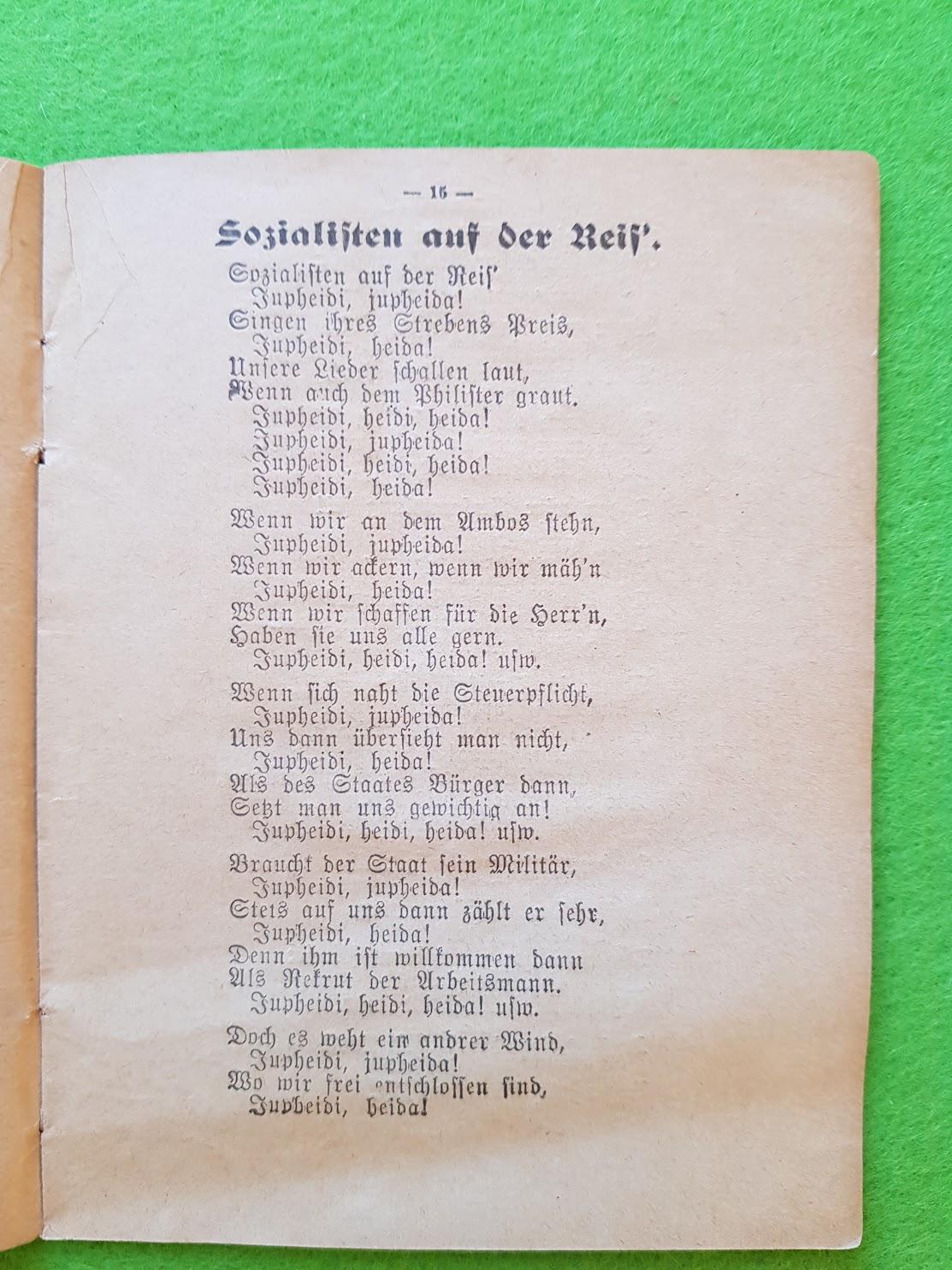 Arbeiter Liederbuch für Massengesang, 1910 - Sozialisten auf der Reis'