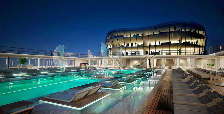The pool deck aboard the MSC Meraviglia cruise ship.