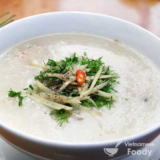 Vietnamese Rice Soup with Fish, Ginger and Onion (Chao Ca Recipe).